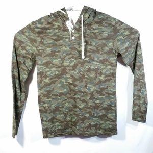 Arizona Jeans Green Camouflage Hoodie Hooded Shirt